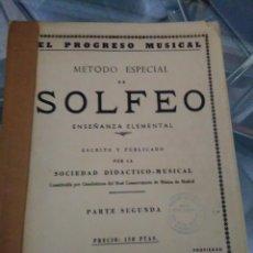 Libros: MÉTODO ESPECIAL DE SOLFEO, ENSEÑANZA ELEMENTAL PARTE SEGUNDA. Lote 128228763