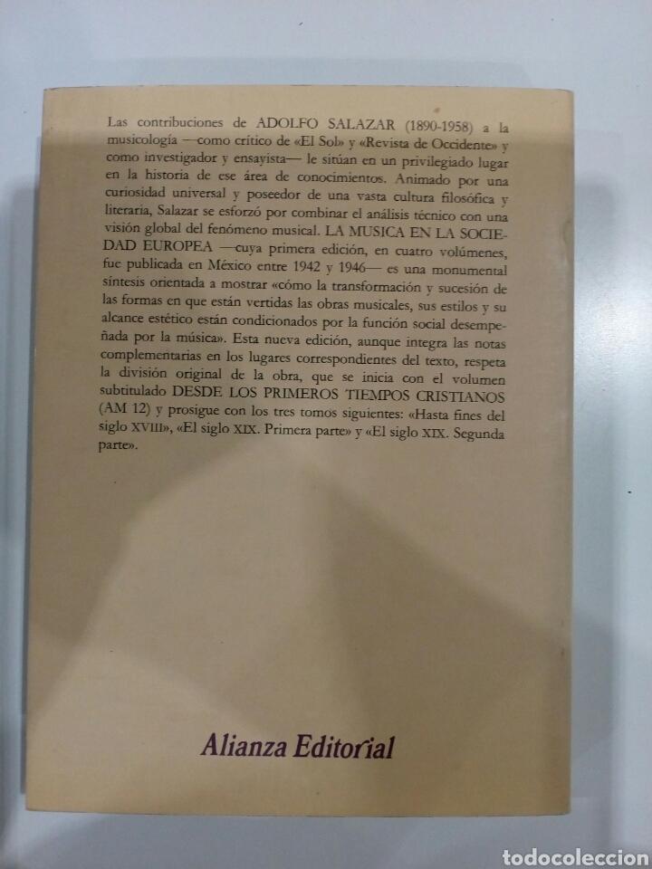 Libros: La Música en la Sociedad Europea , I.Desde los primeros tiempos Cristianos , Adolfo Salazar - Foto 2 - 207239561