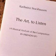 Libros: STOCKHAUSEN - THE ART TO LISTEN. Lote 277074233