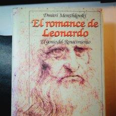 Libros: EL ROMANCE DE LEONARDO. DIMITRI MEREZHKOVSKI. Lote 196533610