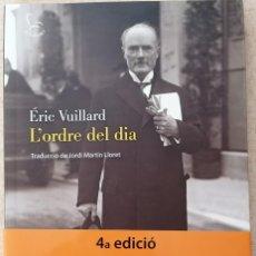 Libros: L'ORDRE DEL DIA - ÉRIC VUILLARD - EDICIONS 62 - 2018. Lote 210552932