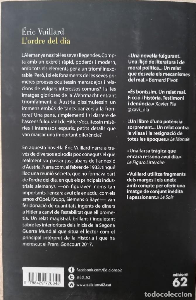 Libros: LORDRE DEL DIA - ÉRIC VUILLARD - EDICIONS 62 - 2018 - Foto 2 - 210552932