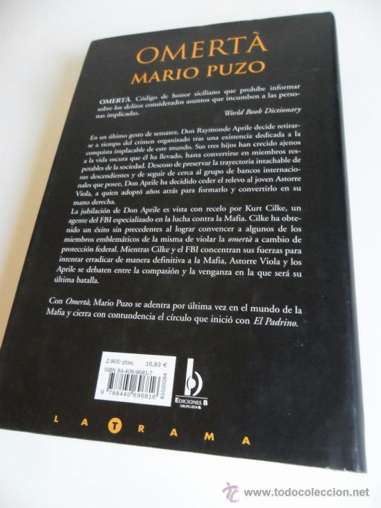 Libros: OMERTÀ . MARIO PUZO . 352 PÁGS TAPA DURA CON SOBRECUBIERTAS - Foto 3 - 36908426