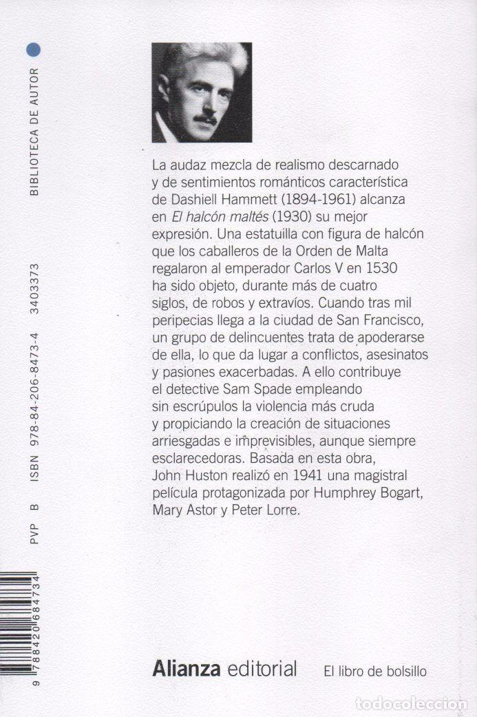 Libros: EL HALCON MALTES de DASHIELL HAMMETT - ALIANZA EDITORIAL, 2014, BOLSILLO (NUEVO) - Foto 2 - 87445808