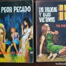 Libros: LOTE DE 2 NOVELAS. EL PEOR PECADO, SOBRE LA TRATA DE BLANCAS 1964 Y LAS DROGAS Y SUS VICTIMAS 1965. Lote 184364243
