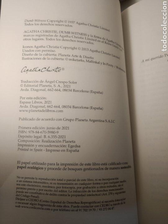 Libros: El testigo mudo Agatha Christie. Editorial:Espasa. Temática:Novela negra|Novelas de detective - Foto 2 - 285149373