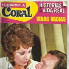 Libros: FOTONOVELA. HISTORIAS DE LA VIDA REAL. CORAL. VIDAS VACIAS. BARCELONA. 1971. Lote 47998722