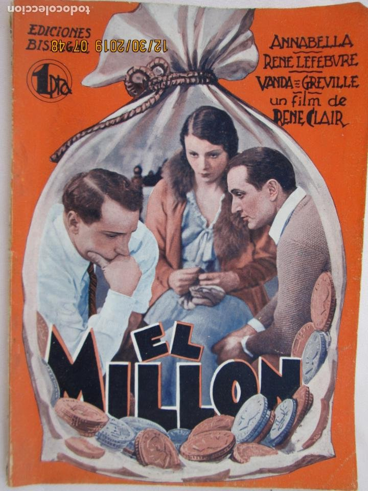 EL MILLON - ANNABELLA - RENE CLAIR EDICIONES BISTAGNE - LA NOVELA SEMANAL CINEMATOGRÁFICA (Libros Nuevos - Literatura - Narrativa - Novela Romántica)