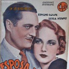 Libros: ESPOSA A MEDIAS - EDMUNDO LOWE -EDICIONES BISTAGNE - LA NOVELA SEMANAL CINEMATOGRÁFICA. Lote 189588723