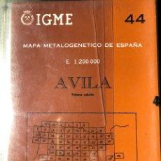 Libros: MAPA METALOGENÉTICO DE ESPAÑA ESCALA 1:200.000 AVILA. Lote 198784596