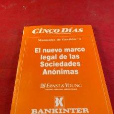 Libros: EL NUEVO MARCO LEGAL DE LAS SOCIEDADES ANÓNIMAS. Lote 218359211