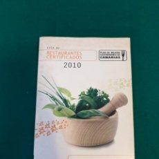 Libros: GUÍA DE 2010 RESTAURANTES DE TENERIFE. Lote 236806335