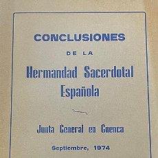 Livros: CONCLUSIONES DE LA HERMANDAD SACERDOTAL ESPAÑOLA. Lote 254747590