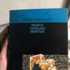 Libros: CARMEN MARIMON LLORCA PROSISTAS CASTELLANOS MEDIEVALES CAJA DE AHORROS ALICANTE 1990. Lote 260055470