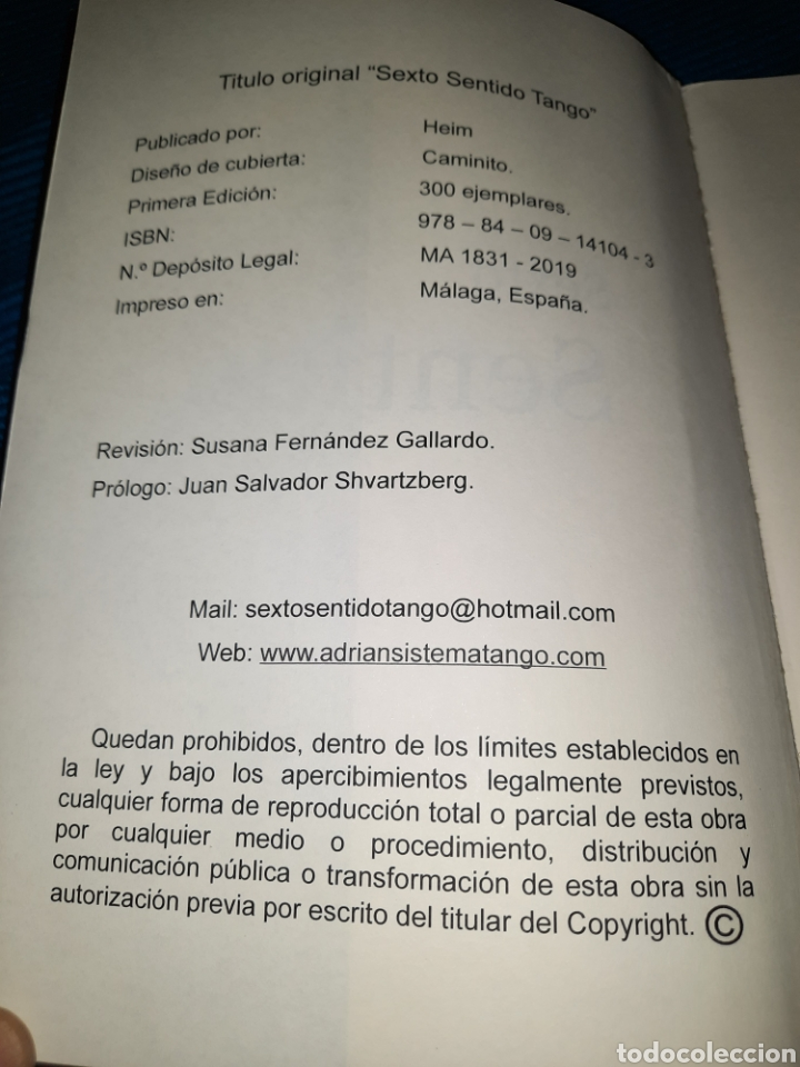 Libros: LIBRO SEXTO SENTIDO TANGO, UNA FILOSOFÍA DE VIDA, 1°EDICIÓN, SÓLO 300 EJEMPLARES, ADRIÁN A. HEIM - Foto 3 - 276093893