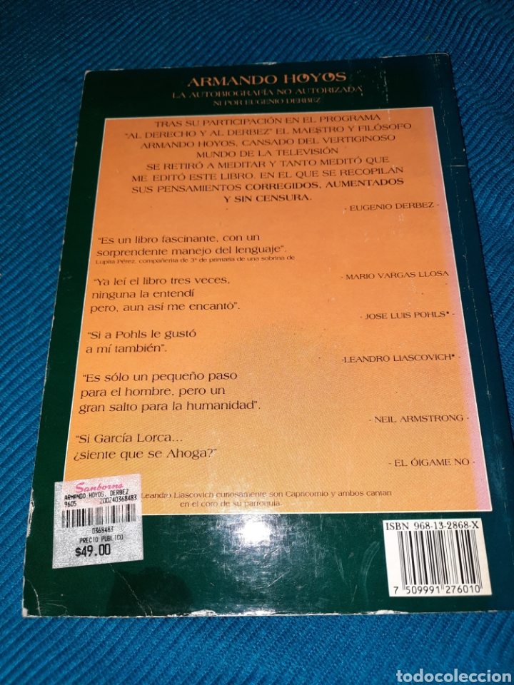 Libros: ARMANDO HOYOS, LA AUTOBIOGRAFÍA NO AUTORIZADA NI POR EUGENIO DERBEZ,EDITORIAL DIANA,MÉXICO - Foto 2 - 276222818