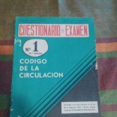 Libros: CUESTIONARIO DE EXAMEN N.1 CÓDIGO DE LA CIIRCULACION. Lote 277679153