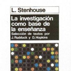 Libros: INVESTIGACION COMO BASE DE LA ENSEÑANZA. Lote 115580334