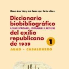Libros: DICCIONARIO BIOBIBLIOGRÁFICO DE LOS ESCRITORES, EDITORIALES Y REVISTAS DEL EXILIO REPUBLICANO DE. Lote 166373390