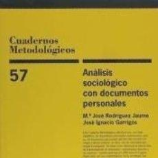 Libros: ANÁLISIS SOCIOLÓGICO CON DOCUMENTOS PERSONALES. Lote 198399817
