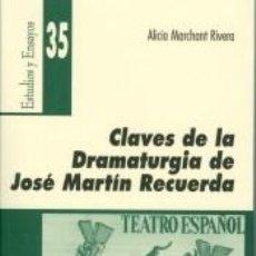 Libros: CLAVES DE LA DRAMATURGIA DE JOSÉ MARTÍN RECUERDA. Lote 278370623