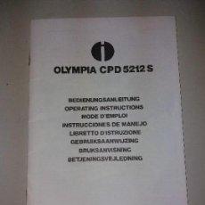Livres: INSTRUCCIONES DE MANEJO CALCULADORAS OLYMPIA MODELO CPD 5212 S.. Lote 124519571