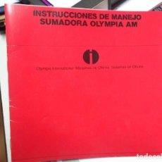 Libros: MANUAL DE INSTRUCCIONES DE MAQUINA SUMADORA ELECTRICA OLYMPIA AM. Lote 124677087