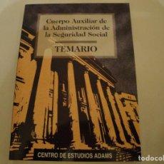 Libros: ADAMS.CUERPO AUXILIAR ADMINISTRACIÓN SEGURIDAD SOCIAL. AÑO 1997. OPOSICIONES. NUEVO.. Lote 79811057