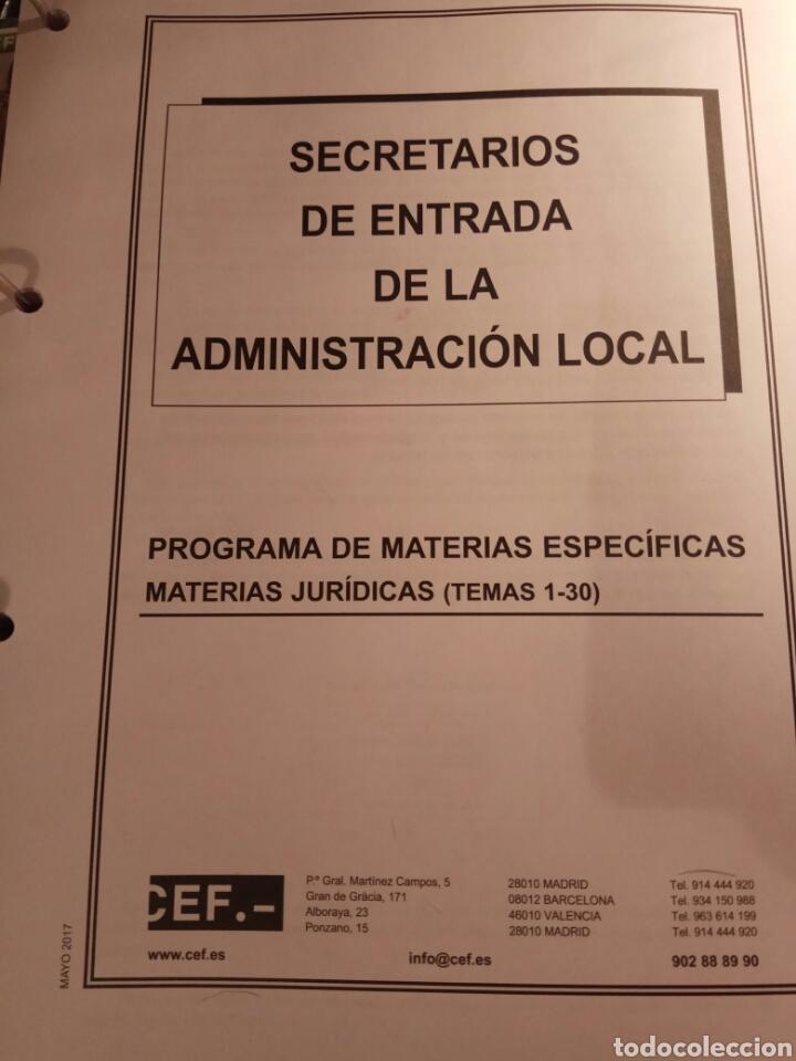 TEMARIO DE OPOSICION, SECRETARIO DE ENTRADA DE ADMINISTRACIÓN LOCAL (Libros Nuevos - Oposiciones)
