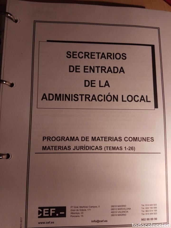 Libros: Temario de oposicion, secretario de entrada de administración local - Foto 2 - 114530834