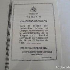 Libros: CONCURSO-OPOSICIÓN CUERPO ADMINISTRATIVO ADMÓN. SEGURIDAD SOCIAL. PROMOCIÓN INTERNA. DICBRE.1995. Lote 159750206