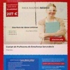 Libros: PACK AHORRO BÁSICO. CUERPO DE PROFESORES DE ENSEÑANZA SECUNDARIA. FRANCÉS. Lote 171012085