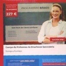 Libros: PACK AHORRO BÁSICO. CUERPO DE PROFESORES DE ENSEÑANZA SECUNDARIA. BIOLOGÍA Y GEOLOGÍA. Lote 174145732