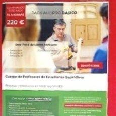 Libros: PACK AHORRO BÁSICO. CUERPO DE PROFESORES DE ENSEÑANZA SECUNDARIA. PROCESOS Y PRODUCTOS EN MADERA Y. Lote 182365778