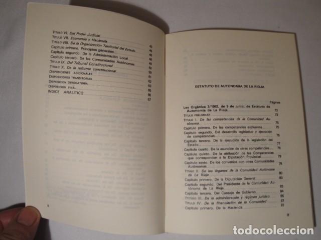 Libros: Constitución Española y el Estatuto de Autonomía de La Rioja. Año 1984. NUEVO. - Foto 3 - 207408447