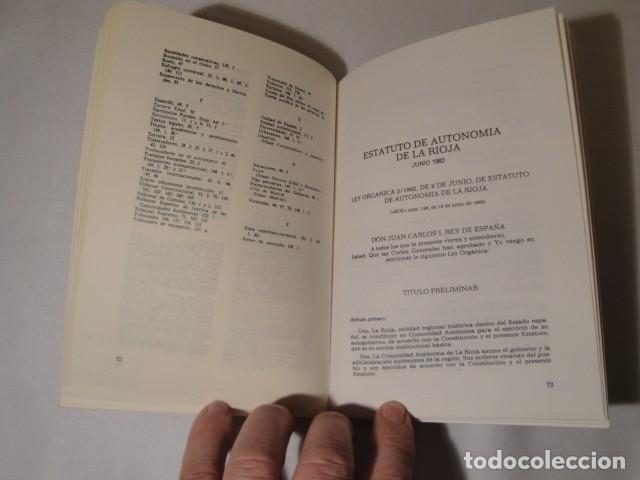 Libros: Constitución Española y el Estatuto de Autonomía de La Rioja. Año 1984. NUEVO. - Foto 5 - 207408447
