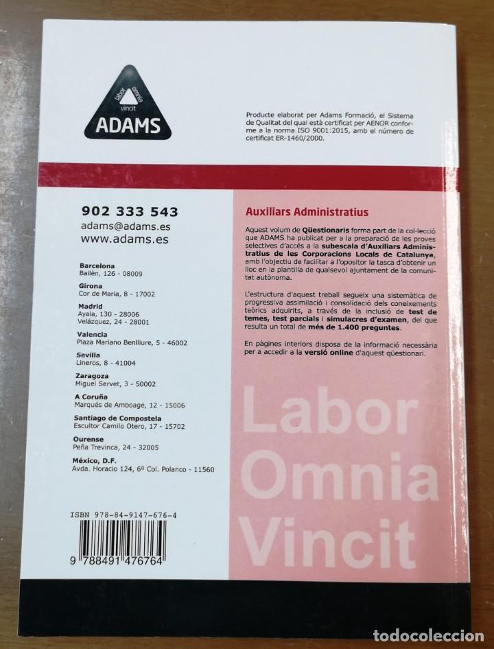 Libros: AUXILIARS ADMINISTRATIUS-QÜESTIONARIS-CORPORACIONS LOCALS-ACCÉS VERSIÓ ONLINE -ADAMS - Foto 2 - 214259267