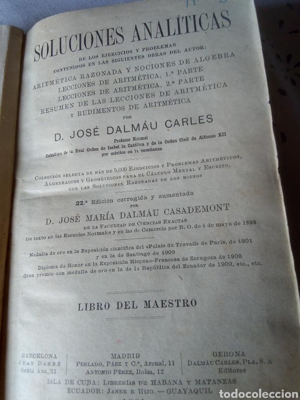Libros: Soluciones analíticas ejercicios y problemas año 1921 - Foto 3 - 226451660