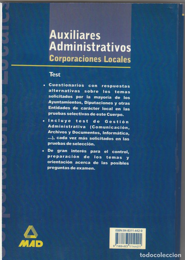 Libros: 10269 -LIBRO TEST PARA AUXILIARES ADMINISTRATIVOS DE CORPORACIONES LOCALES EDIT. MAD - Foto 2 - 233868250