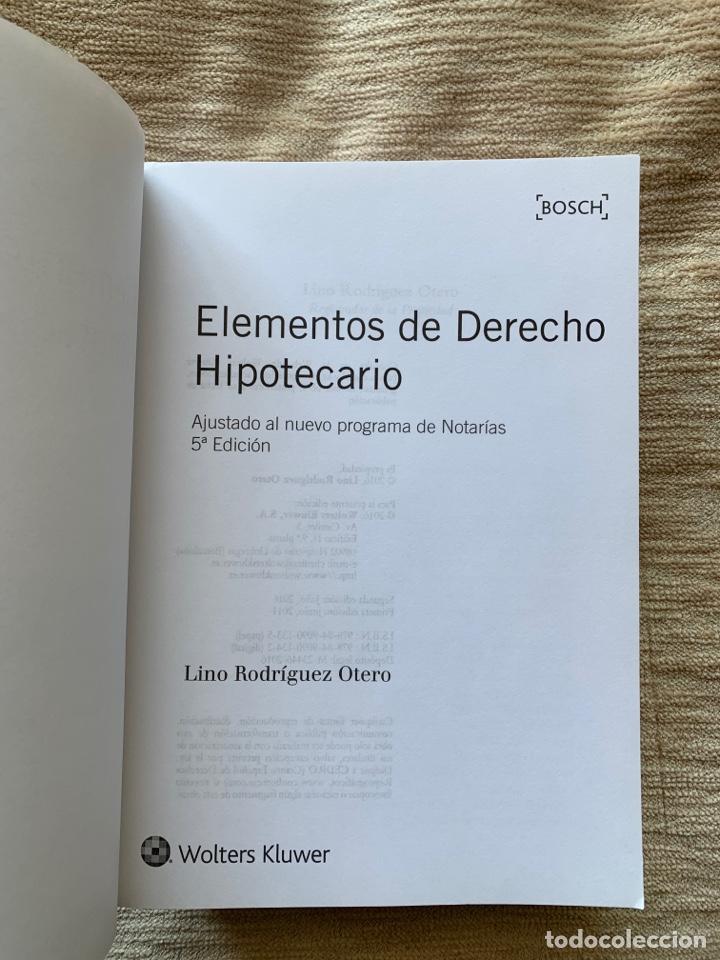 Libros: Elementos de derecho hipotecario (5.ª Ed.) Lino Rodríguez Otero - Foto 2 - 274688708