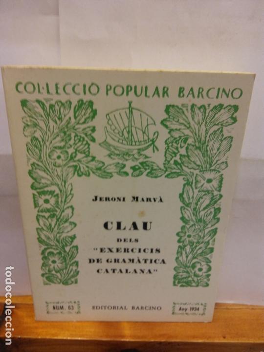 STQ.JERONI MARVA.CLAU DELS EXERCICIS DE GRAMATICA CATALANA.EDT, BARCINO.BRUMART TU LIBRERIA. (Libros Nuevos - Educación - Pedagogía)