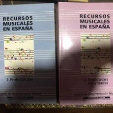 Libros: RECURSOS MUSICALES EN ESPAÑA 1991, 2 VOLÚMENES. CENTRO DOCUMENTACIÓN MUSICAL.. Lote 182115465