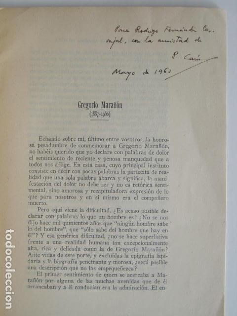 Libros: PEDRO LAÍN ENTRALGO. GREGORIO MARAÑÓN. SEPARATA DE BOLETÍN DE REAL ACADEMIA,1960. DEDICADO POR AUTOR - Foto 6 - 199355055