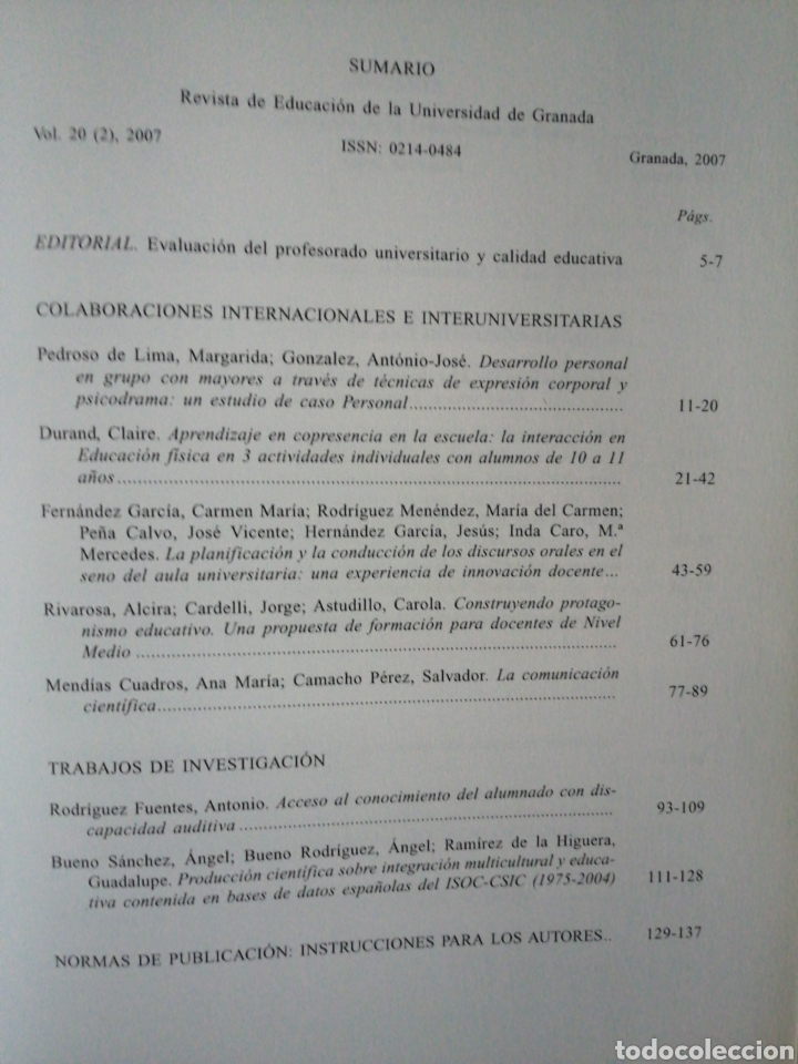 Libros: Revista de Educación. VOL. 20 2),2007.Universidad de Granada - Foto 2 - 267634909