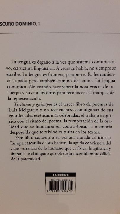 Libros: TIRITAÑAS Y GUIÑAPOS / LUIS MELGAREJO / ED / SALTADERA / NUEVO. - Foto 2 - 109038927