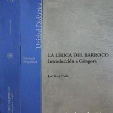 Libros: RICO VERDÚ, JOSÉ. LA LÍRICA DEL BARROCO. INTRODUCCIÓN A GÓNGORA. MADRID, 2004.. Lote 115169691
