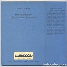 Libros - CONTRERAS, Carmen. Interior noche. (Música para un año insomne). 2002. - 120193039