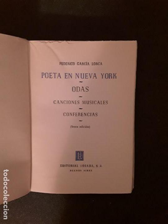 Libros: García Lorca, Federico.Poeta en Nueva York. Odas. Canciones musicales. Conferencias. - Foto 3 - 146128762