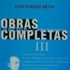 Libros: OBRAS COMPLETAS 3 GOTTFRIED BENN. Lote 171667679