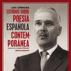 Libros: ESTUDIOS SOBRE POESÍA ESPAÑOLA CONTEMPORÁNEA. LUIS CERNUDA. Lote 189360490